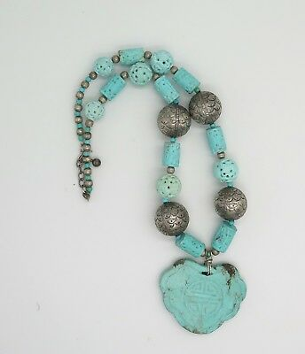 Amazing Huge Carved Turquoise Pendant with Large Antique Fish Scale Beads