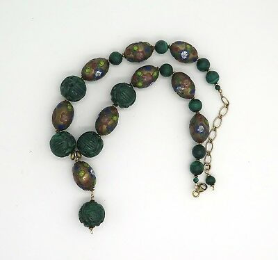 Lovely Chinese Malachite and Cloisonne Bead Necklace