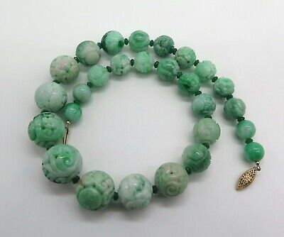 Antique Natural Apple Green Carved Jade Shou Longevity Dragon Bead Necklace 14K