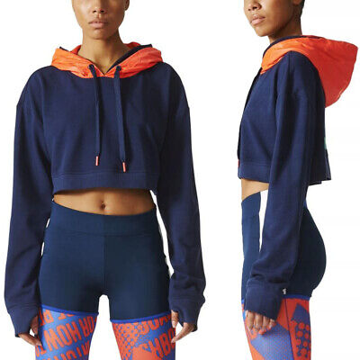 adidas Womens Stella McCartney Icon Hoodie Cropped Hooded Jumper Hoody Gym Top