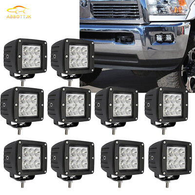 "10x 3"" 18W LED PODs WORK LIGHT BAR SPOT OFFROAD TRUCK  UTE PICK-UP REVERSING"