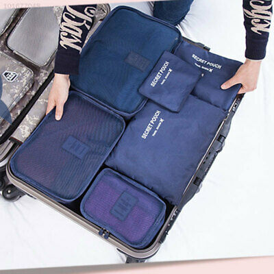 6Pcs Clothes Storage Bags Packing Cube Travel Clothing Organizer Pouch Navy Blue