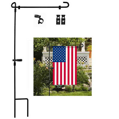 Garden Iron Flag Pole Outdoor Yard Flags Stand Holder Banner Bracket Stoppers