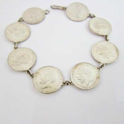 Silver George V Threepence Thruppence Threepenny Bit Coin Bracelet Various Years