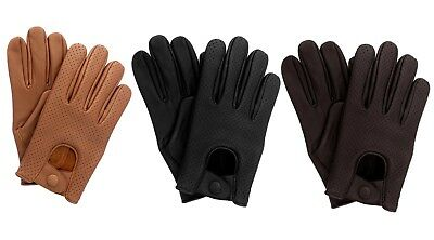 Men's Mesh Leather soft Driving Gloves Comfort Chauffeur Retro Style Top Quality
