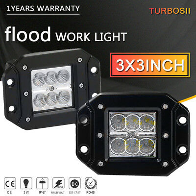 2pcs 3X3 FLOOD LED Cube Pods Work Light Flush Mount Offroad Truck  Square