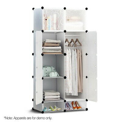 10 Cube DIY Storage Cabinet Wardrobe - White