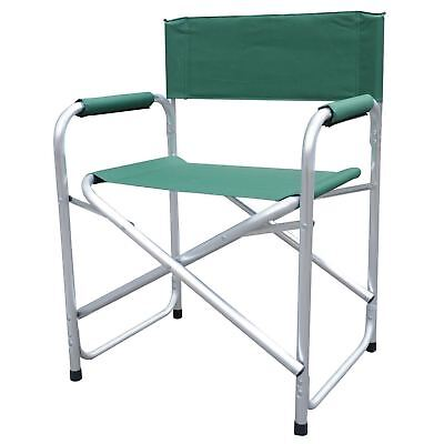 Aluminium Directors Folding Chair With Arms Director Camping Garden Green