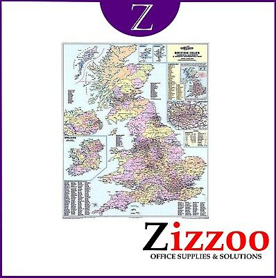 Uk Counties Wall Map District And Laminated With Free Delivery