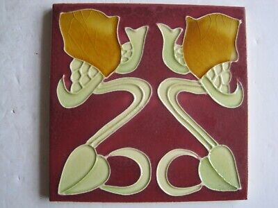 Art Nouveau Style Majolica Glazed Moulded Tile - Yellow Stylised Flowers - Repro