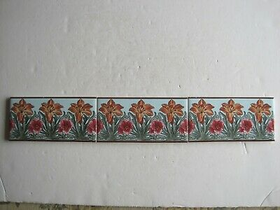 "SET OF 3 VINTAGE  6"" x 3""  FLORAL BORDER TILES - ORANGE LILIES ON BLUE"