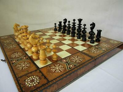 ANTIQUE CHESS SET FRENCH REGENCE CLUB  K 4 inches PLUS  ISLAMIC GAMES BOARD