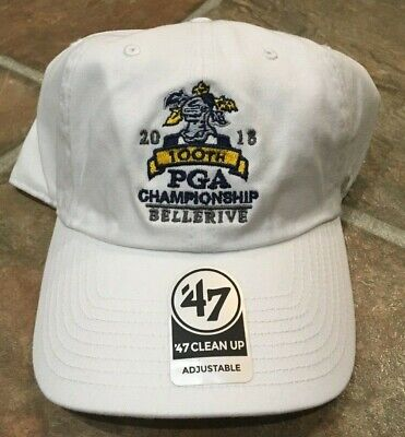 88719992 PGA Championship '47 Hat 100th 2018 Bellerive WHITE Adjustable Hat NEW Golf