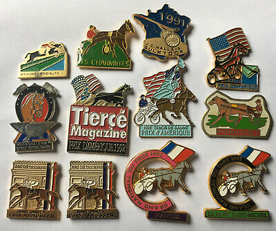 Lot de 12 Pin's CHEVAUX Tiercé Grand Prix Amérique Arc de Triomphe National Trot