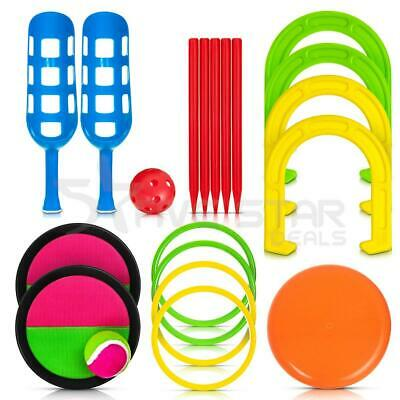 5 in 1 Outdoor Garden Games Horseshoes Paddle Scoop Ball Frisbee Ring Toss Quoit