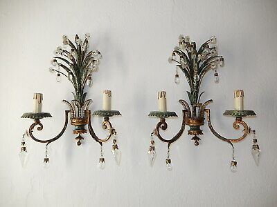 ~c 1920 French Maison Bagues Style Beaded Green Crystal Leaves Sconces Rare~