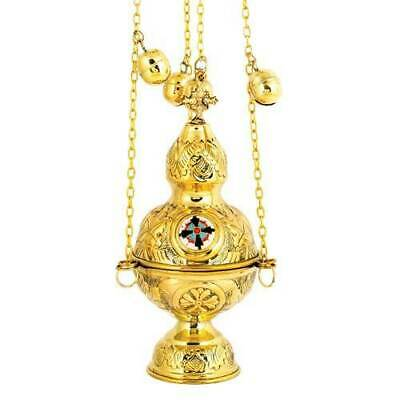 Orthodox Church Gold Plated Thurible Censer Incense Burner 4 chains 12 bells