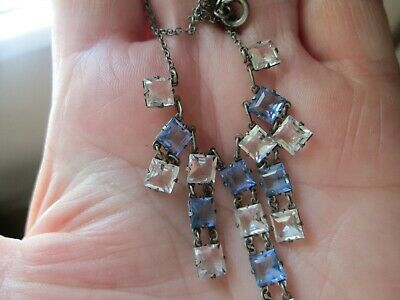 ART DECO Open Backed Glass Drop  Necklace 1930's jewellery