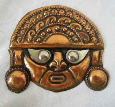 antique vintage Copper wall hanging Mask Face handmade plaque patina