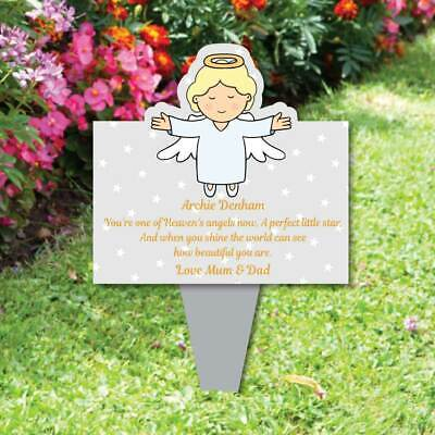 Memorial Baby funeral verse Child Grave Ornament Personalised Angel Plaque