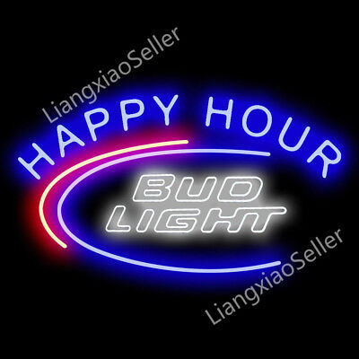 "24""X20"" Bud Light Happy Hour Game Room Beer Bar Real Neon Light Sign"