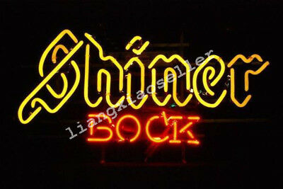 SHINER BOCK TEXAS LONE STAR REAL GLASS NEON SIGN BEER BAR PUB LIGHT Free Ship