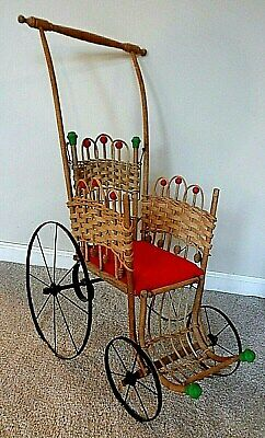 "Antique Vintage Victorian Baby Doll Buggy Stroller Wicker Wood Metal 28"" Tall"
