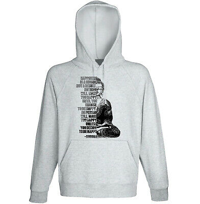 Buddha - Happiness Is A Choice - NEW COTTON GREY HOODIE