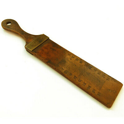 A Beautiful Antique Brass & Boxwood Miniature Rule Ruler Measure Tool