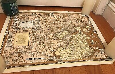 Boston Massachusetts and Vicinity A Pictorial Map 1938 Ernest Chase Signed Rare