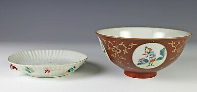 Two Pieces of Antique Chinese Porcelain Bowl and Plate - Qianlong Period