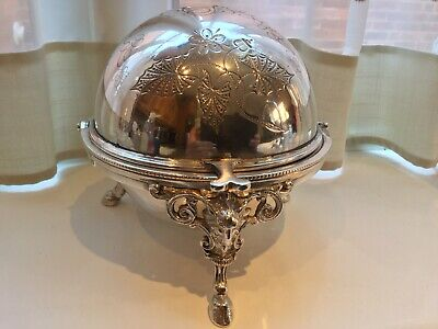 Beautiful Antique Victorian  Silver Plated Chased Footed Roll Top Butter Dish