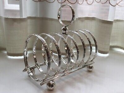 Superb Antique Art Deco Walker And Hall Silver Plated Footed Toast Rack