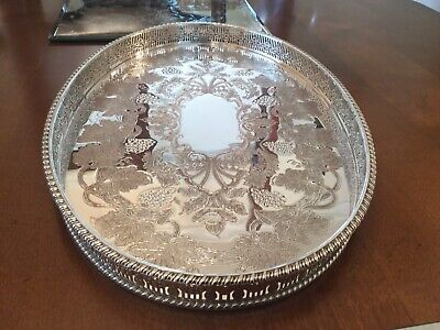 Beautiful Vintage Viners Ltd Silver Plated Chased Galleried Drinks Tray