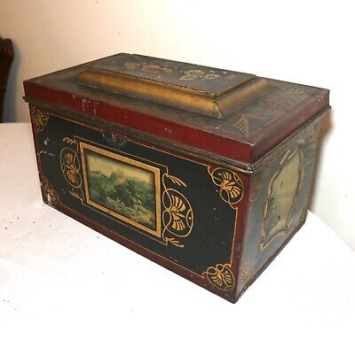 large antique early 19th century hand painted Tole metal toleware box painting