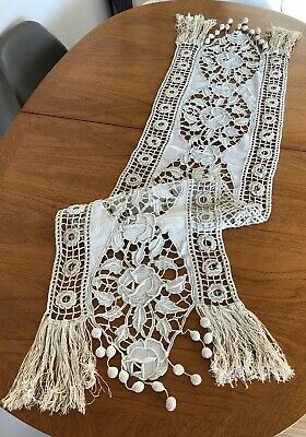 Vintage French Hand Worked Fringed Embroidered Table Runner