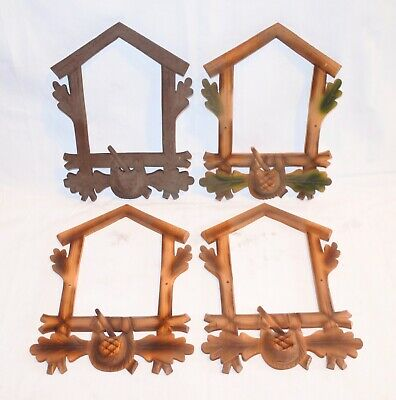 Mixed Lot of 4 Vintage Wood Hunters Leaves Cuckoo Clock front Trim NOS ..