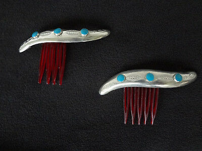 """PRICE REDUCED Pair of Vintage Silver and Turquoise Hair Combs 3"""""""