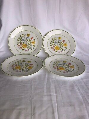"""Corning Corelle Spring Meadow Set of 4 Lunch Salad Plates Yellow Flowers 8.5"""""""