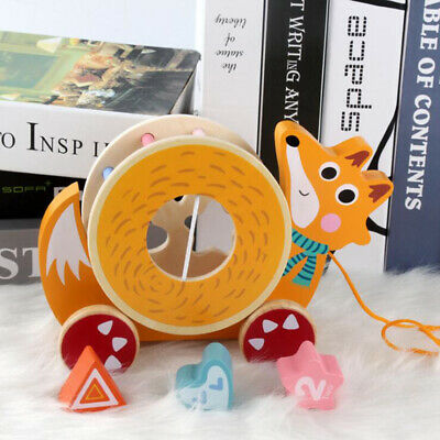 Early Kids Animal Wooden Puzzle Education Paired Tow Rope Trailer Toys Gift Shan