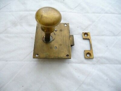 Antique Brass Twist Lock/Latch+Keep Brass Handle-Cupboard Door Cabinet Draws Old