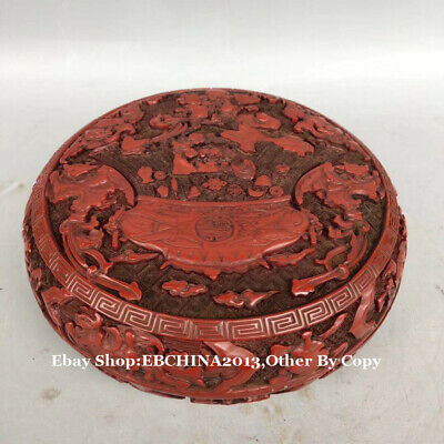 "7"" Old China Art Lacquer ware Wood Carved '春' Flower Relief Bowl Plate Pot Box"