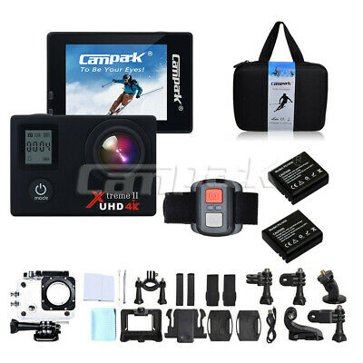 """Campark ACT76 Sport Action Camera WiFi 4K 16MP 2"""" LCD Dual Display 170° UK STOCK"""