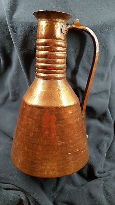 Lovely Arts and Crafts Copper Jug 83 g10 inch high 6 in wide.Hammered bottom