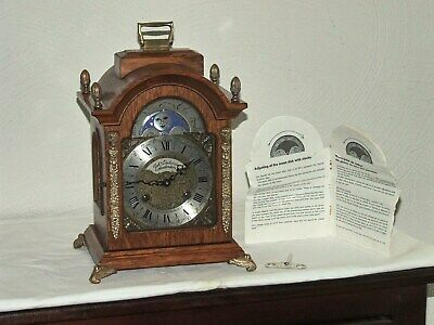 Dutch Bracket Mantel Shelf Oak Clock,FHS movement,Moonphase,2 Bells.