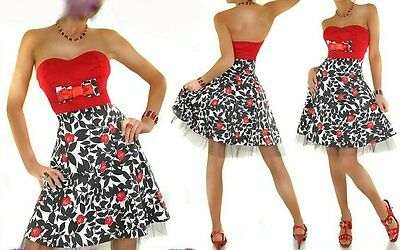 Sexy Miss Pin Up Vintage Abito Sottoveste Flower Dress Rosso 50x S 34 M 36 L 38