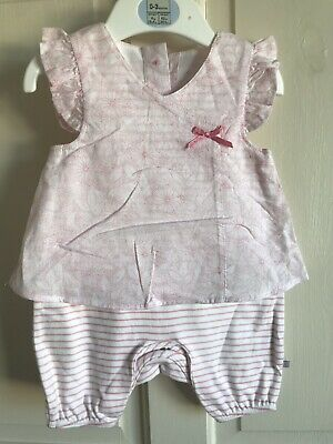 BNWOT BHS Sample Romper Suit/ Outfit. Girls. Age 0 - 3 Months. Pink & White. Bow