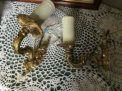 Vintage Rococo Style Pair of Ornate Gold Wall Chandelier Light/Lamps #5587