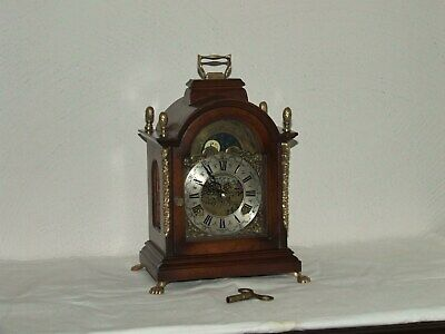 Dutch Bracket Mantel Shelf Clock,Rolling Moon phase/Calendar,2 Bells.