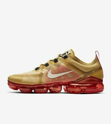 Nike Air VaporMax 2019 AR6631-701 Club Gold Light Cream Men's Running Shoes NIB